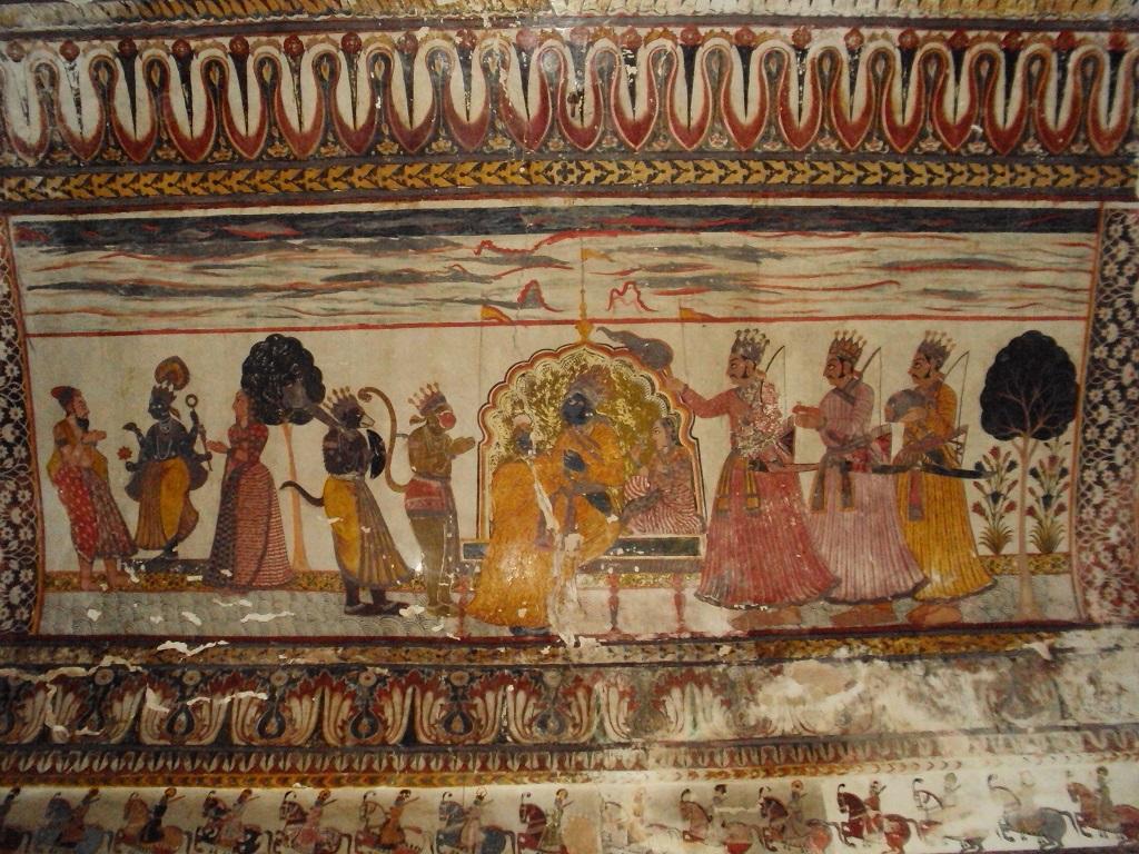 Wall paintings at Raja Mahal Orccha