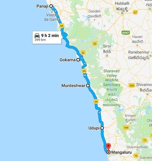 coastal karnataka road trip route map